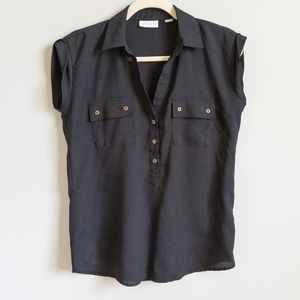 NEW YORK & CO. Black Sheer Sleeveless Blouse | XS